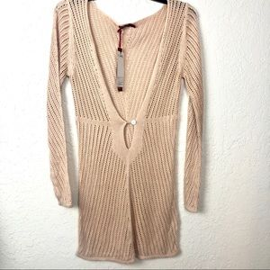 Miusol Open Knit Sweater Beige Large Stretch NWT